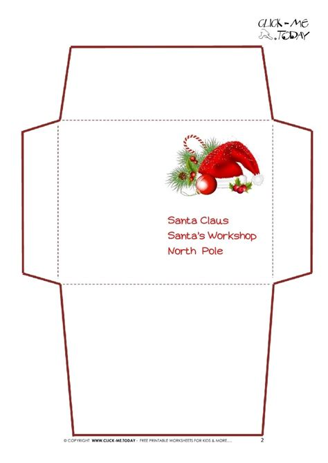 santa envelope template printable christmas printables