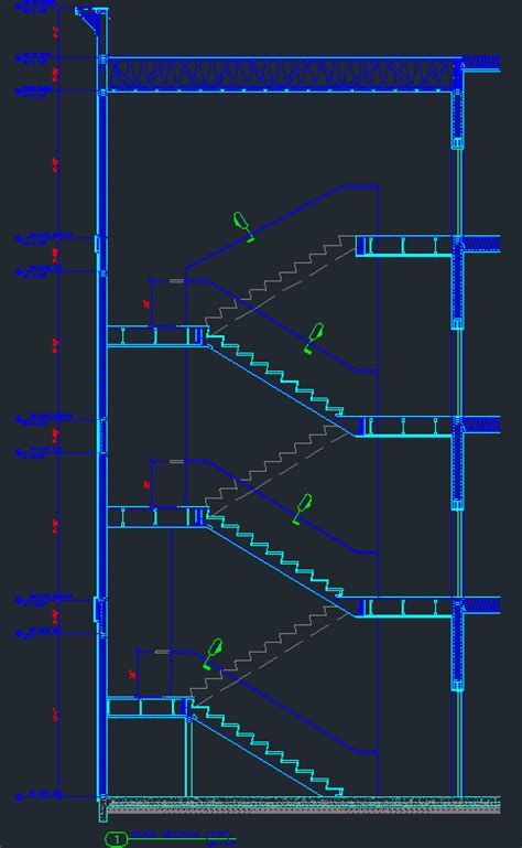 stair detail 4 story wood stair section with details cad files dwg files plans and details