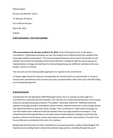 financial memo examples samples  word pages