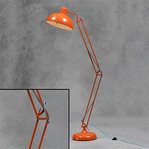 Large retro orange floor lamp vintage angle poise style for Giant retro floor lamp the range