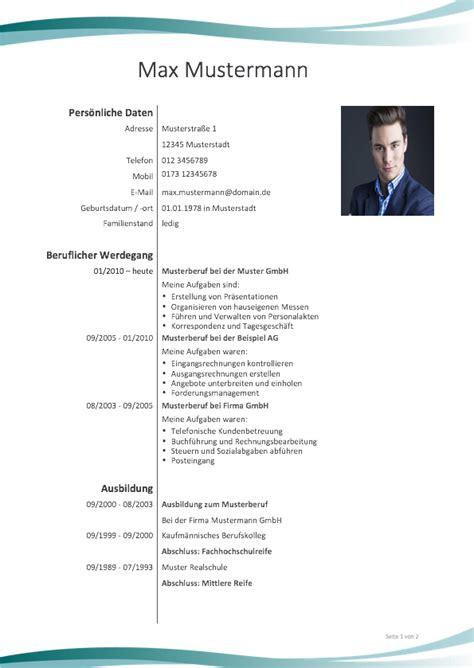 Lebenslauf Anschreiben Muster by Lebenslauf Muster Meinebewerbung Net