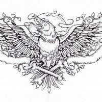 traditional black raven  flower tattoo design