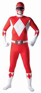 Adult Large 2nd Skin Red Power Ranger Fancy Dress Costume ...