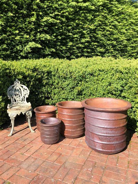 Large ribbed stoneware garden planters