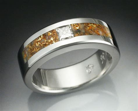Buy A Hand Crafted Man's Diamond Ring In Platinum Inlaid