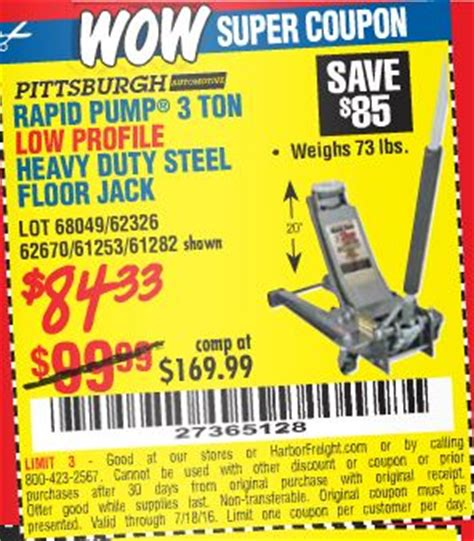 25 Ton Floor Harbor Freight by 28 Low Profile Floor Coupon Harbor Freight