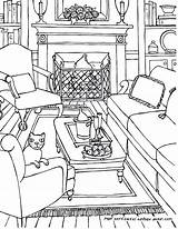 Coloring Living Pages Perspective Drawing Interior Point Adults Colouring Adult Line Drawings Rooms Sketch Bedroom Printable Furniture Getdrawings Books Colour sketch template