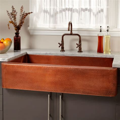 kitchen with copper sink 42 quot fiona hammered copper farmhouse sink kitchen 6503