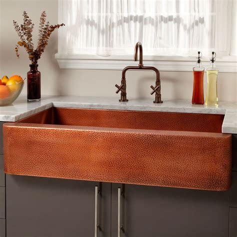 """42"""" Fiona Hammered Copper Farmhouse Sink   Kitchen"""