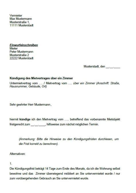 Kündigung Eines Mietvertrages Durch Den Vermieter by K 252 Ndigung Des Mietvertrages K 252 Ndigung Vorlage Fwptc