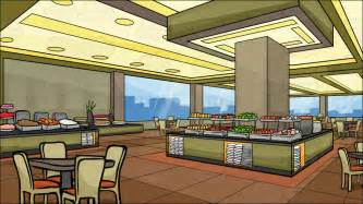 Orange Dining Room Chairs by A Buffet Restaurant Background Cartoon Clipart