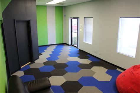hexagon carpet tile contemporary home theater dallas