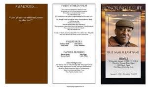 funeral program template trifold brown sunset