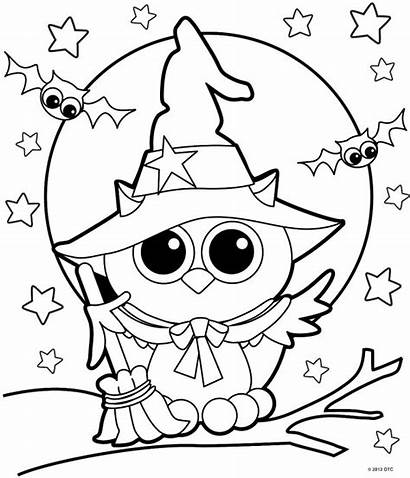 Halloween Coloring Pages Witch Owl
