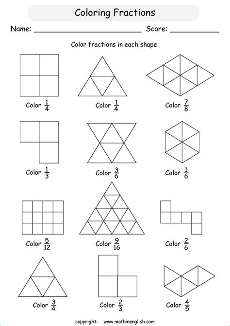 Equivalent Fraction Coloring Worksheets  Search Results  Calendar 2015