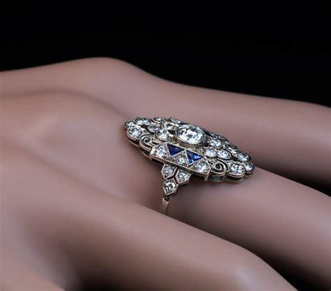 ornate deco sapphire engagement ring antique