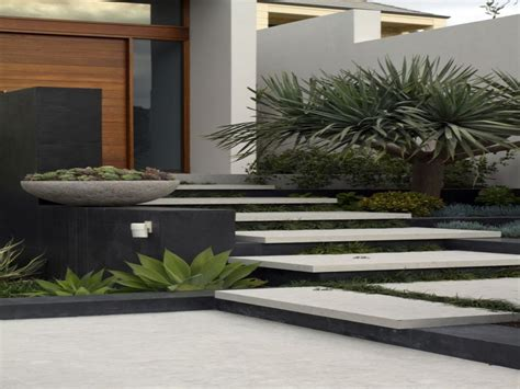 Succulent landscaping, modern contemporary front door