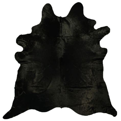 Black Cowhide Rug by Black Hair Cow Skin Solid Black Cowhide Rug By