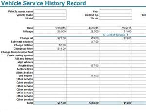 Service Template Excel Vehicle Service History Record Template My Excel Templates