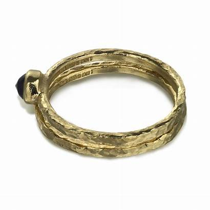Gold Hammered Ring Sapphire Fairtrade Awe Ancient