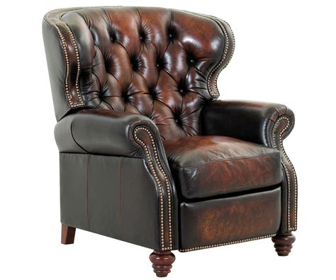 reclining wingback chesterfield tufted leather wingback recliner w nailhead trim