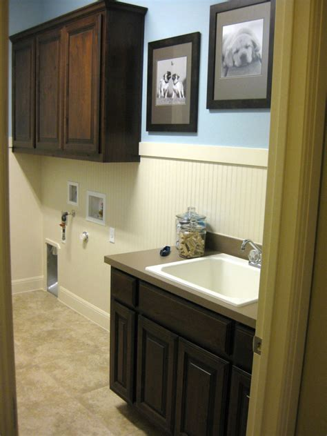 laundry room cabinets  knotty alder cope  stick