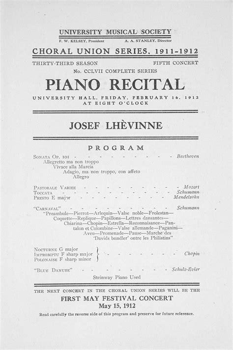 piano recital program ums concert program february 16 1912 piano recital josef lhevinne musical
