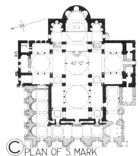 plan  st mark based  greek cross plans section