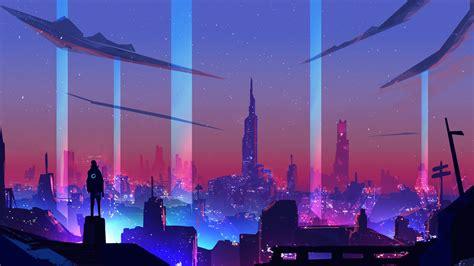 80s Neon City Wallpaper by Neon Wave Futuristic City Wallpaper Hd Artist 4k