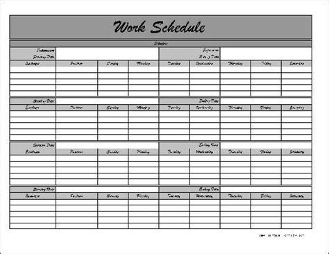 Work Calendars Templates by Free Monthly Work Schedule Template