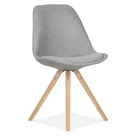 chaise grise et blanche eames inspired pyramid upholstered dining chair in cool