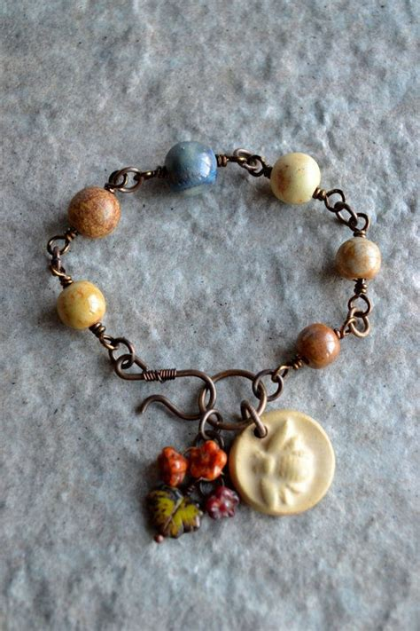busy bee ceramic wire wrapped bracelet   etsy