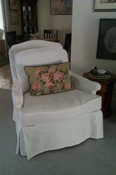 custom slipcover in white canvas traditional