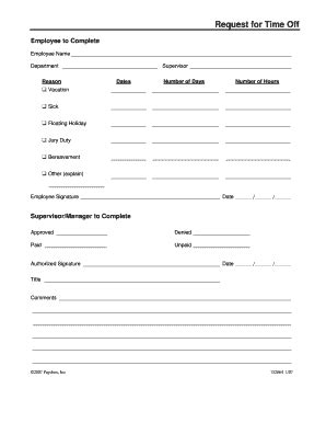 16839 time request forms fillable request for time paychex fax email