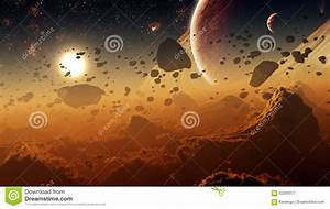 Gas Giant Planet Surface With Asteroid Belt Stock ...