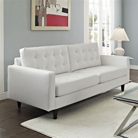 White Faux Leather Loveseat by Modway Empress Midcentury White Faux Leather Sofa At Lowes