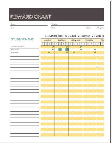 reward chart templates  ms excel word excel templates