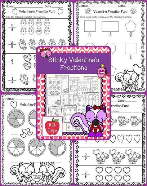 valentines day fractions  images fun fractions