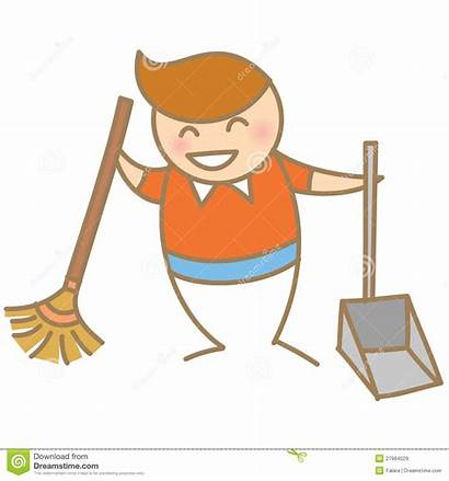 Cleaning Boy Smiling Clipart Clean Toys Broom