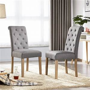 Yaheetech, 2pcs, Classic, Dining, Chair, Fabric, Upholstered, High, Back, Padded, Dining, Chairs, For, Home