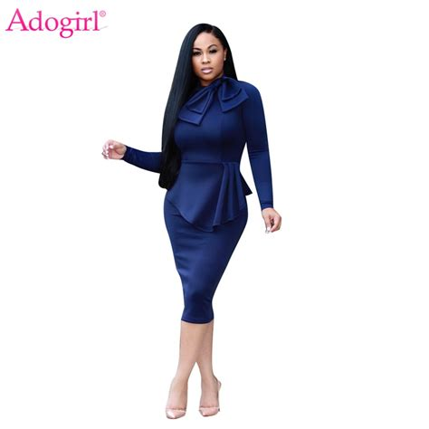 Adogirl 2017 New Stylish Ladies Office Dress Elegant Bow