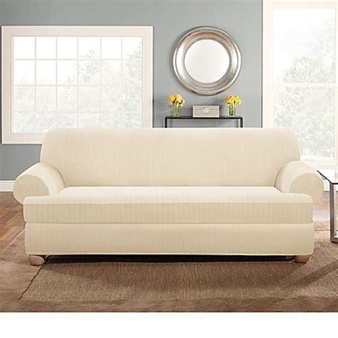 2 piece t cushion sofa slipcover buy sure fit stretch pinstripe 2 piece t cushion sofa