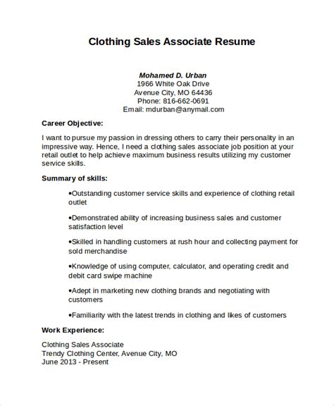 Clothing Retail Resume by Sales Associate Resume Template 8 Free Word Pdf
