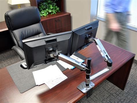 dual monitor office desk ergotron lx dual stacked desk mount lcd arm radius office