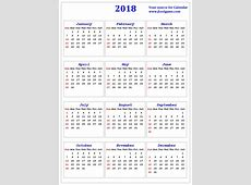 2018 Calendar Small – Merry Christmas And Happy New Year 2018