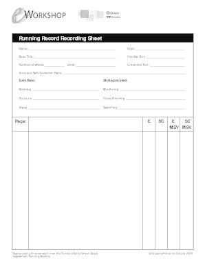 running record template printable running record sheet fill printable fillable blank pdffiller