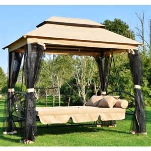 outsunny outdoor 3 person patio daybed canopy gazebo