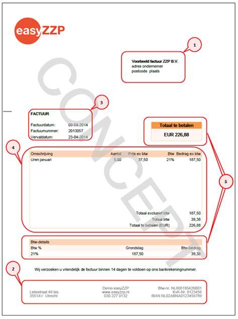 foto de EasyZZP Voorbeeld factuur ZZP met toelichting en regelgeving