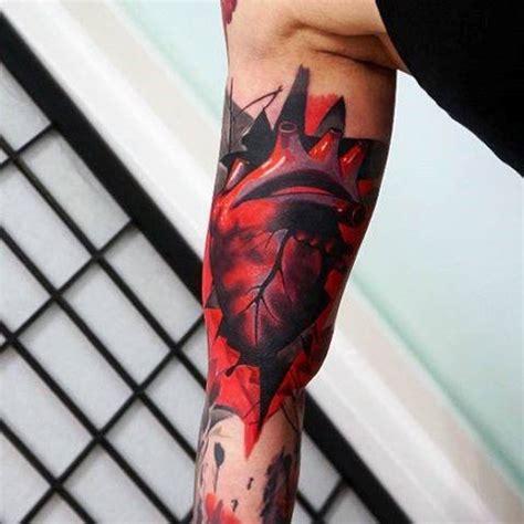 anatomical heart tattoo designs  men blood pumping ink
