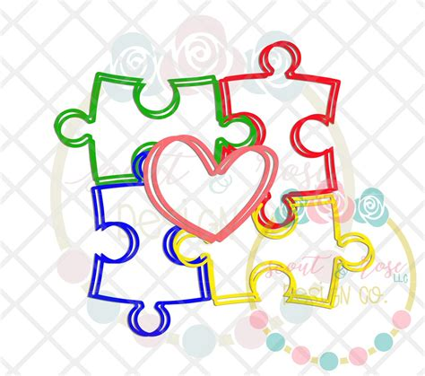 autism scribble puzzle piece heart svg dxf png scout  rose design